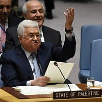 Palestinian Authority President Mahmoud Abbas speaks at the United Nations Security Council on February 20, 2018. (AFP Photo/Timothy A. Clary)