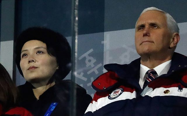 In this photo taken on February 9, 2018 US Vice President Mike Pence (R) and North Korea's Kim Jong Un's sister, Kim Yo Jong, attend the opening ceremony of the Pyeongchang 2018 Winter Olympic Games at the Pyeongchang Stadium. (AFP PHOTO / Odd ANDERSEN)