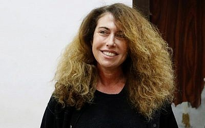 Stella Handler, CEO of the Bezeq telecom giant, appears in the Tel Aviv District Court on February 21, 2018. (AFP Photo/Jack Guez)