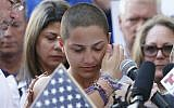 In this photo taken on February 17, 2018 Marjory Stoneman Douglas High School student Emma Gonzalez speaks at a rally for gun control at the Broward County Federal Courthouse in Fort Lauderdale, Florida. (AFP PHOTO / RHONA WISE)