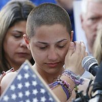 Illustrative: Marjory Stoneman Douglas High School student Emma Gonzalez speaks at a rally for gun control at the Broward County Federal Courthouse in Fort Lauderdale, Florida, on February 17, 2018. (AFP PHOTO / RHONA WISE)