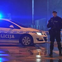 Police block off the area around the US Embassy in Montenegro's capital Podgorica on February 22, 2018. (AFP PHOTO / AFP-Services / SAVO PRELEVIC)