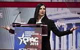 Spokesperson for the National Rifle Association (NRA) Dana Loesch speaks during the 2018 Conservative Political Action Conference at National Harbor in Oxon Hill, Maryland on February 22, 2018. (AFP PHOTO / JIM WATSON)