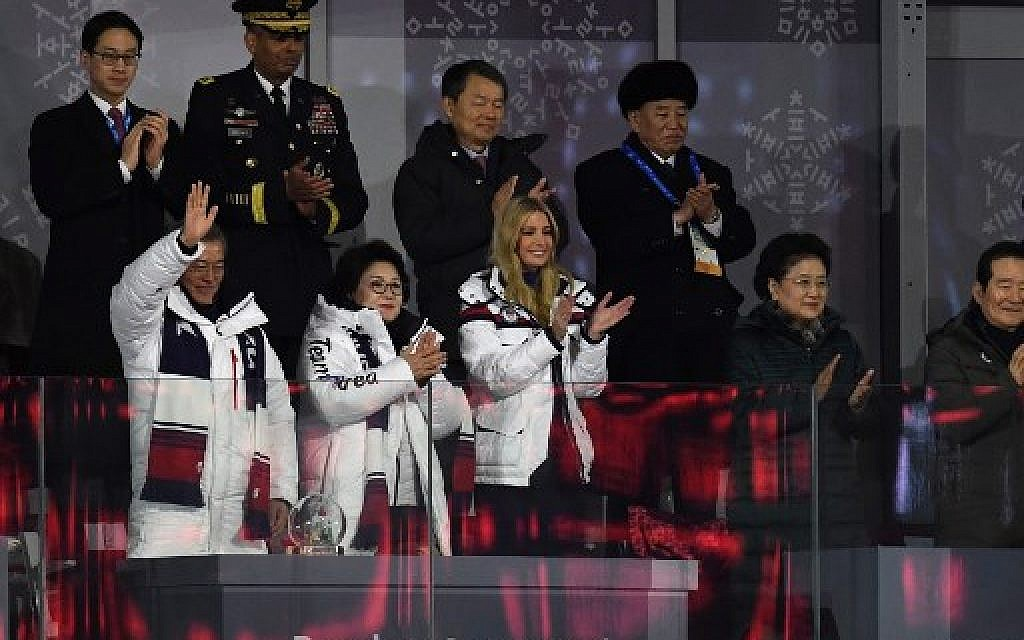 South Korea's President Moon Jae-in (L), his wife Kim Jung-sook (C), US President Donald Trump's daughter and senior White House adviser Ivanka Trump (C-R), North Korean General Kim Yong Chol (back R), and United States Forces Korea commander General Vincent K. Brooks (back 2ndL) attend the closing ceremony of the Pyeongchang 2018 Winter Olympic Games at the Pyeongchang Stadium on February 25, 2018. (AFP PHOTO / WANG Zhao)