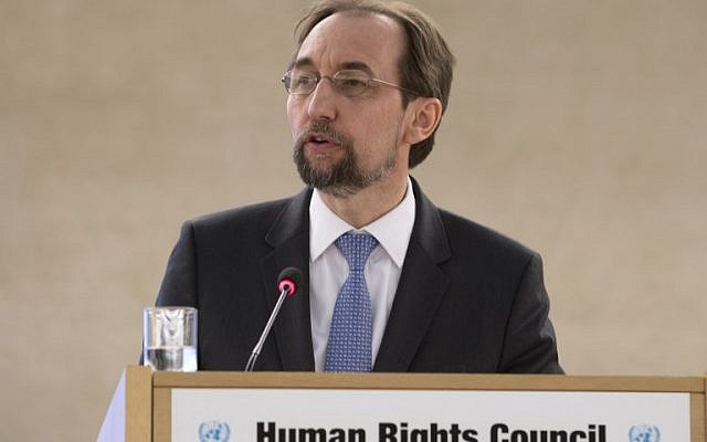 United Nations (UN) High Commissioner for Human Rights Zeid Ra'ad Al Hussein addresses the 37th session of the United Nations Human Rights Council on February 26, 2018 in Geneva. (AFP PHOTO / Jean-Guy PYTHON)