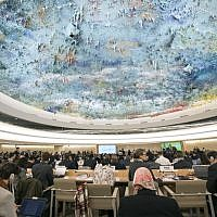 A general view of the 37th session of the United Nations Human Rights Council on February 26, 2018 in Geneva. (AFP Photo/ Jean-Guy Python)