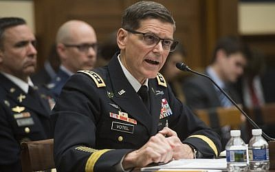 US Army General Joseph Votel, head of US Central Command, testifies during a House Armed Services Committee hearing on Capitol Hill in Washington, DC, February 27, 2018. (AFP /Saul Loeb)