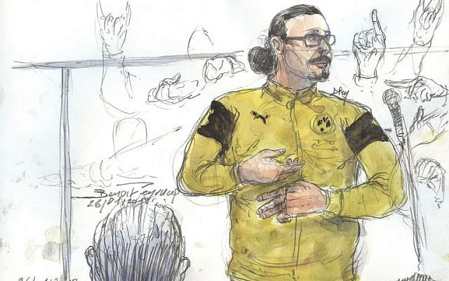 This courtroom sketch created at the Palais de Justice court in Paris on January 26, 2018, shows Jawad Bendaoud gesturing while standing in the dock during his trial in which he stands accused of harboring two of the jihadists in the aftermath of the November 2015 Paris attacks. (AFP/Benoit Peyrucq)