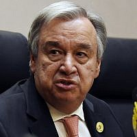 UN Secretary-General Antonio Guterres speaks at a press conference in Addis Ababa, Ethiopia on January 28, 2018. (AFP/Simon Maina)
