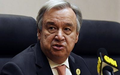 UN Secretary General Antonio Guterres speaks at a press conference in Addis Ababa on January 28, 2018. (AFP/ SIMON MAINA)