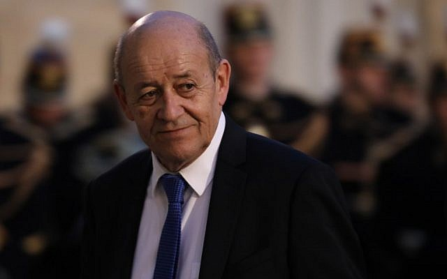 French Foreign Affairs Minister Jean-Yves Le Drian at the Elysee Palace in Paris, January 30, 2018. (Ludovic MARIN/AFP)