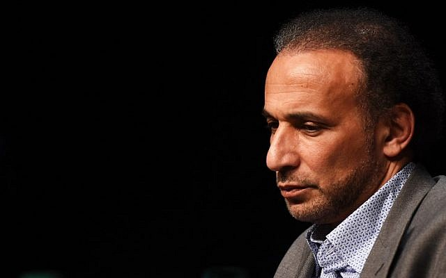 "In this file photo taken on March 26, 2016 Swiss Islamologist Tariq Ramadan takes part in a conference on the theme ""Live together"" in Bordeaux. (AFP PHOTO / MEHDI FEDOUACH)"