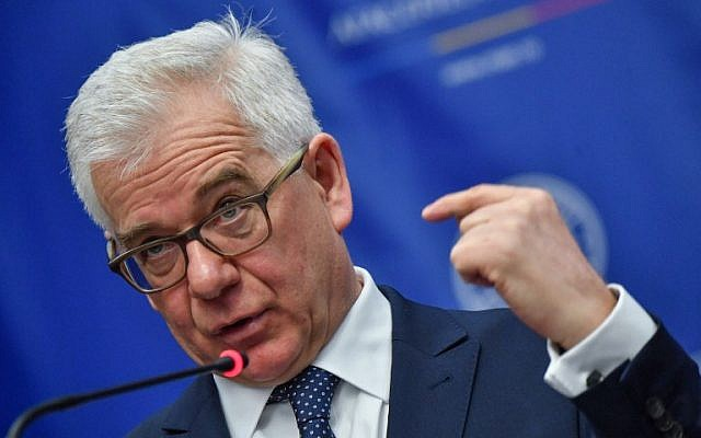 Polish Foreign Minister Jacek Czaputowicz speaks during a joint press conference with his Romanian counterpart (unseen) at the Romanian Foreign Ministry in Bucharest on February 1, 2018. (AFP Photo/Daniel Mihailescu)