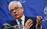 Polish Foreign Minister Jacek Czaputowicz speaks during a joint press conference with his Romanian counterpart (unseen) at the Romanian Foreign Ministry headquarters in Bucharest on February 1, 2018.  (AFP PHOTO / Daniel MIHAILESCU)
