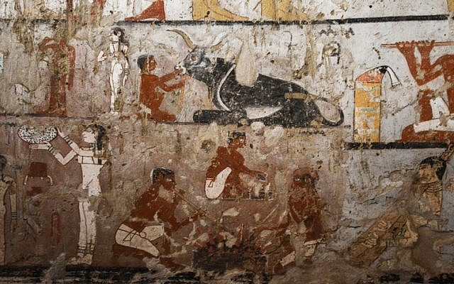 A general view shows well-preserved and rare wall paintings inside the tomb of an Old Kingdom priestess on the Giza plateau on the southern outskirts of Cairo, that was unveiled on February 3, 2018 (AFP PHOTO / MOHAMED EL-SHAHED)