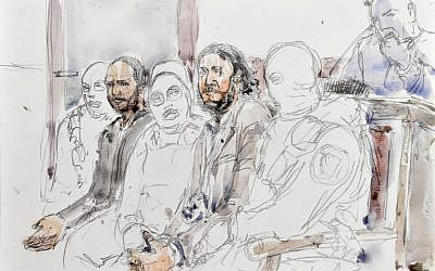 A courtroom sketch made on February 5, 2018 shows prime suspect in the November 2015 Paris attacks Salah Abdeslam (2ndR) sitting beside his alleged accomplice Sofiane Ayari (2ndL) as they are surrounded by Belgian special police officers in the courtroom at the 'Palais de Justice' courthouse in Brussels for the opening of their trial. (AFP/Benoit Peyrucq)
