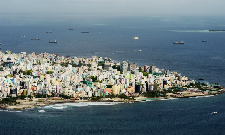 11 2013 shows an aerial view of the island of Male capital of the Maldives