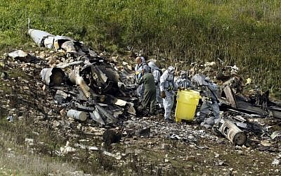 A picture taken in northern Israel on February 10, 2018, showing the remains of an Israeli F-16 that crashed after coming under fire by Syrian air defenses. (AFP/ Jack GUEZ)