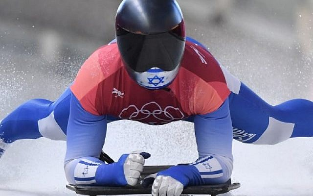 Israel's Adam Edelman slows down at the end of the men's skeleton heat 2 during the Pyeongchang 2018 Winter Olympic Games  on February 15, 2018. (AFP/Mark Ralston)