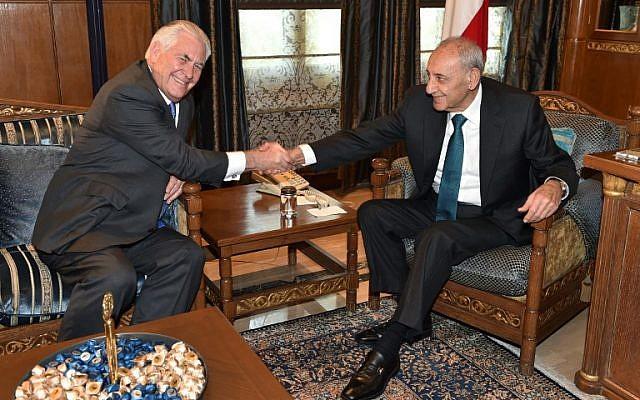 US Secretary of State Rex Tillerson (L) meets Lebanese Parliament Speaker Nabih Berri (R) in Beirut on February 15, 2018. (AFP Photo/Stringer)