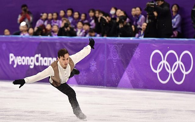 Israel's Alexei Bychenko competes in the men's single skating short program of the figure skating event during the Pyeongchang 2018 Winter Olympic Games, on February 16, 2018. (AFP/Aris Messinis)
