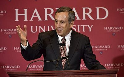 Lawrence Bacow speaks as he is introduced as Harvard University's 29th president during a news conference on February 11, 2018 in Cambridge, Massachusetts. (Paul Marotta/Getty Images/AFP)