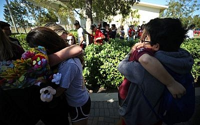 Students of Marjory Stoneman Douglas High School gather at Pine Trail Park, on February 15, 2018 in Parkland, Florida. (Mark Wilson/Getty Images/AFP)