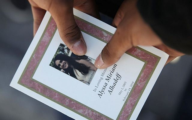 A program from the funeral of Alyssa Alhadeff at Star of David chapel in Parkland, Florida, on February 16, 2018. (Joe Raedle/Getty Images/AFP)