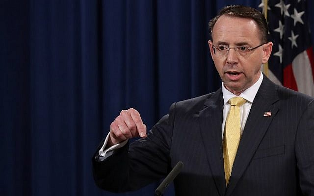 US Deputy Attorney General Rod Rosenstein announces the indictment of 13 Russian nationals and 3 Russian organizations for meddling in the 2016 US presidential election on February 16, 2018, at the Justice Department in Washington, DC. (Win McNamee/Getty Images/AFP)