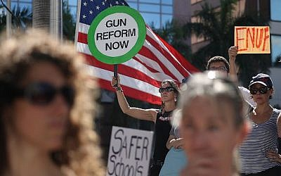 Illustrative image of Alessandra Mondolfi holding a sign that reads, 'gun reform now', as she joins other people after a school shooting that killed 17 to protest against guns on the steps of the Broward County Federal courthouse on February 17, 2018 in Fort Lauderdale, Florida. (Joe Raedle/Getty Images/AFP)