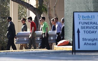 Pallbearers carry the casket of Scott Beigel, geography teacher from Marjory Stoneman Douglas High School, after a funeral service at Temple Beth-El on February 18, 2018 in Boca Raton, Florida. (Joe Raedle/Getty Images/AFP)