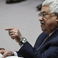 Palestinian Authority President Mahmoud Abbas speaks during a United Nations Security Council meeting at UN headquarters, February 20, 2018 in New York City (Drew Angerer/Getty Images/AFP)
