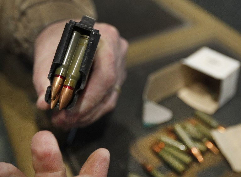 7.62X39mm round are loaded into 30 round magazine for an AK-47 at Good Guys Gun and Range on February 21, 2018 in Orem, Utah. (George Frey/Getty Images/AFP)