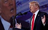 US President Donald Trump addresses the Conservative Political Action Conference at the Gaylord National Resort and Convention Center February 23, 2018 in National Harbor, MD (Chip Somodevilla/Getty Images/AFP)