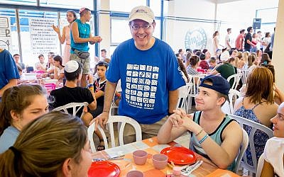 CEO of the American Jewish Joint Distribution Committee (JDC) David M. Schizer with campers at the Szarvas International Jewish Summer Camp in Hungary, a project of JDC and Ronald Lauder. (courtesy)