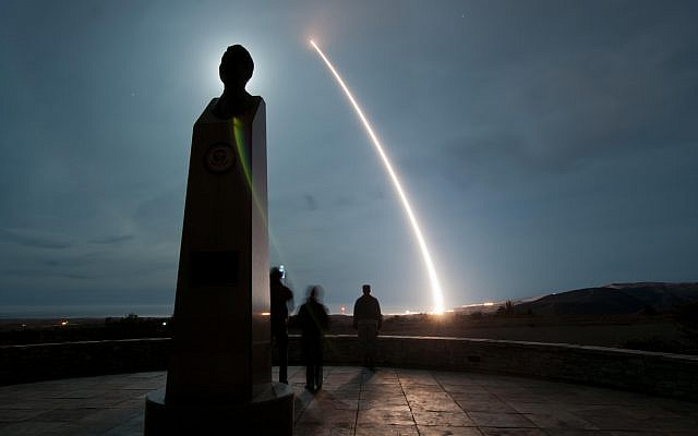 An unarmed US Air Force LGM-30G Minuteman III intercontinental ballistic missile launches during an operational test at Vandenberg Air Force Base, California, December 17, 2013. (DoD photo by Airman 1st Class Yvonne Morales, US Air Force/Released)
