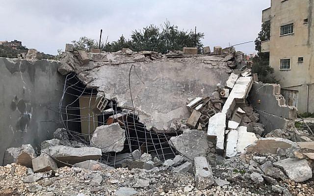 Illustrative: A structure demolished in Jenin by Israeli security forces during an operation to arrest Ahmad Nassar Jarrar, the alleged killer of Rabbi Raziel Shevach (Israel Defense Forces)