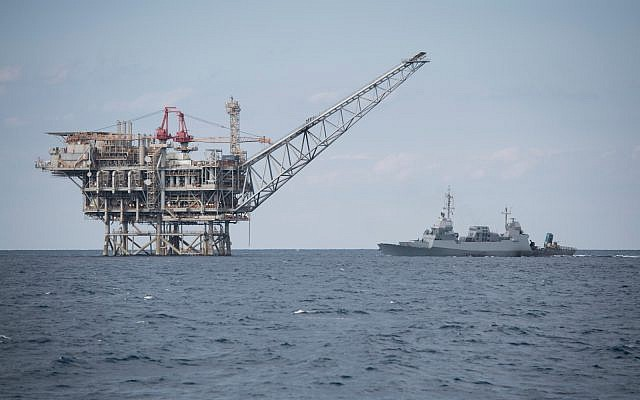 An Israeli Navy Sa'ar 5 corvette defends a natural gas extraction platform off Israel's coast, in an undated photograph. (Israel Defense Forces)