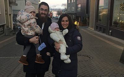 Rabbi Avi Feldman and his wife Mushky Feldman visiting Reykjavik, Iceland, on December 14, 2017. (Chabad.org)