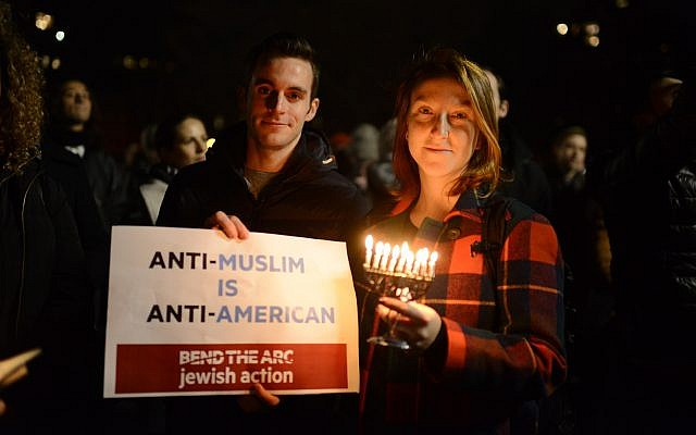 Millennial Jews at a Bend the Arc protest in New York City. (Courtesy)