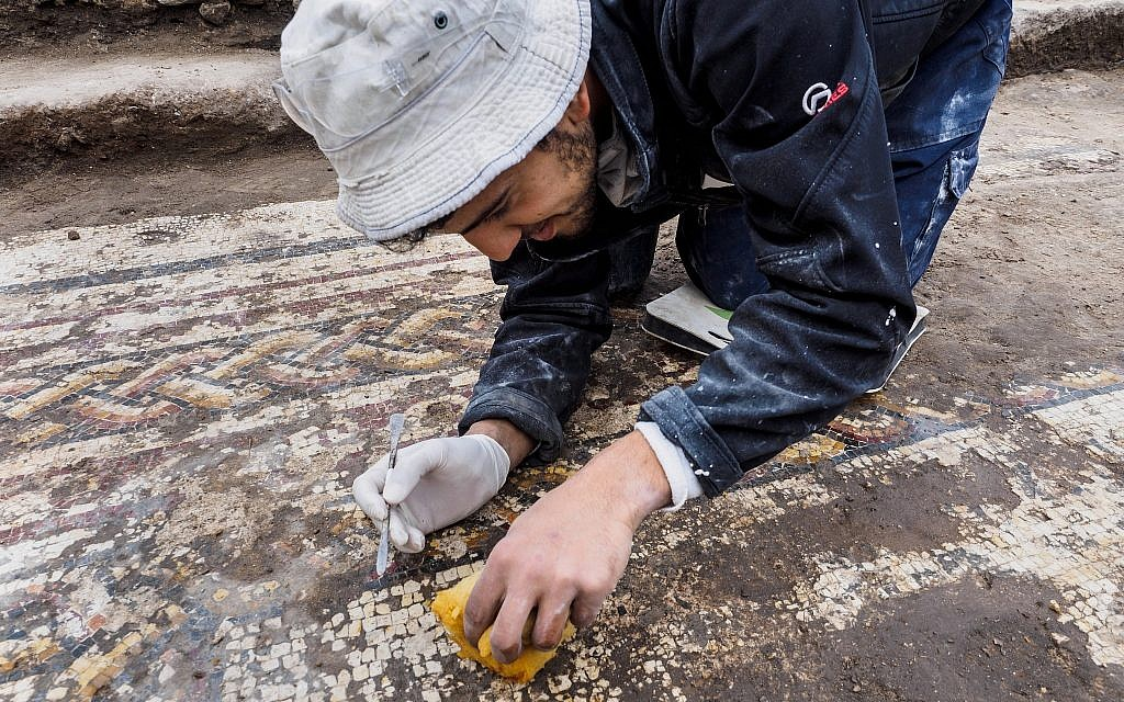 Rare Greek inscription and colorful 1,800-year-old mosaic uncovered at Caesarea