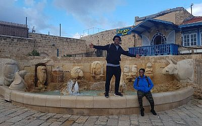 Tennesse Titans linebacker Avery Williamson poses for a picture with his sister, Erika, during a visit to Jaffa as part of a trip to Israel with six other NFL players organized by the American Voices in Israel group. (Courtesy)
