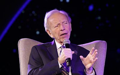 Senator Joe Lieberman speaking at 'The First Israeli Congress on Judaism and Democracy' on February 11, 2018. (Erez Uzir)