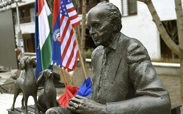 The statue of late US Congressman of Hungarian origin Tom Lantos photographed after its ceremonial unveiling near Lantos's former school, Berzsenyi Daniel Secondary School, in Tom Lantos Walk in Budapest, Hungary, Thursday, February 1, 2018. (Noemi Bruzak/MTI via AP)