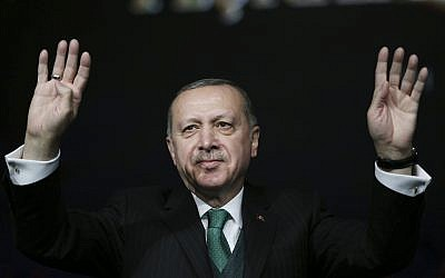 Turkey's President Recep Tayyip Erdogan gestures as he attends a national youth foundation event in Ankara, Turkey on February 1, 2018. (Yasin Bulbul/Pool Photo via AP)