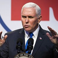 In this February 1, 2018, photo, US Vice President Mike Pence addresses the Republican National Committee (RNC) Winter Meeting in Washington. (AP Photo/Cliff Owen)