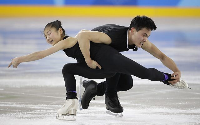North Korea's Ryom Tae Ok, left, and Kim Ju Sik, perform during a Pair Figure Skating training session prior to the 2018 Winter Olympics in Gangneung, South Korea, Saturday, Feb. 3, 2018. (AP Photo/Felipe Dana)