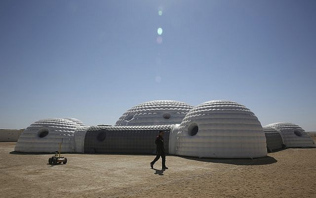 A 2.4-ton inflated habitat used by the AMADEE-18 Mars simulation in the Dhofar desert of southern Oman, pictured on February 7, 2018. (AP Photo/Sam McNeil)