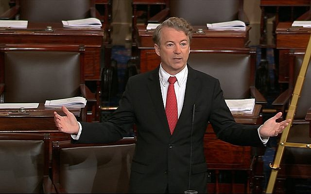In this image from video from Senate Television, Sen. Rand Paul, a Kentucky Republican, speaks on the floor of the Senate, February 8, 2018, on Capitol Hill in Washington. (Senate TV via AP)