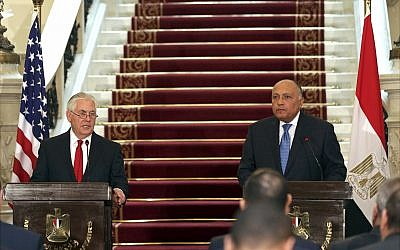 US Secretary of State Rex Tillerson, left, speaks during a press conference with Egyptian Foreign Minister Sameh Shoukry after their meeting, at Tahrir Palace, in Cairo, Egypt,  February 12, 2018. (Khaled Elfiqi/Pool photo via AP)